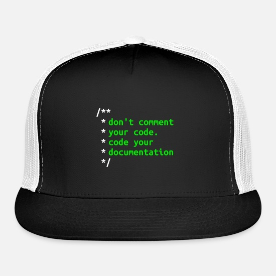 Perl Caps - Don't Comment Your Code - Software Developer Gift - Trucker Cap black/white