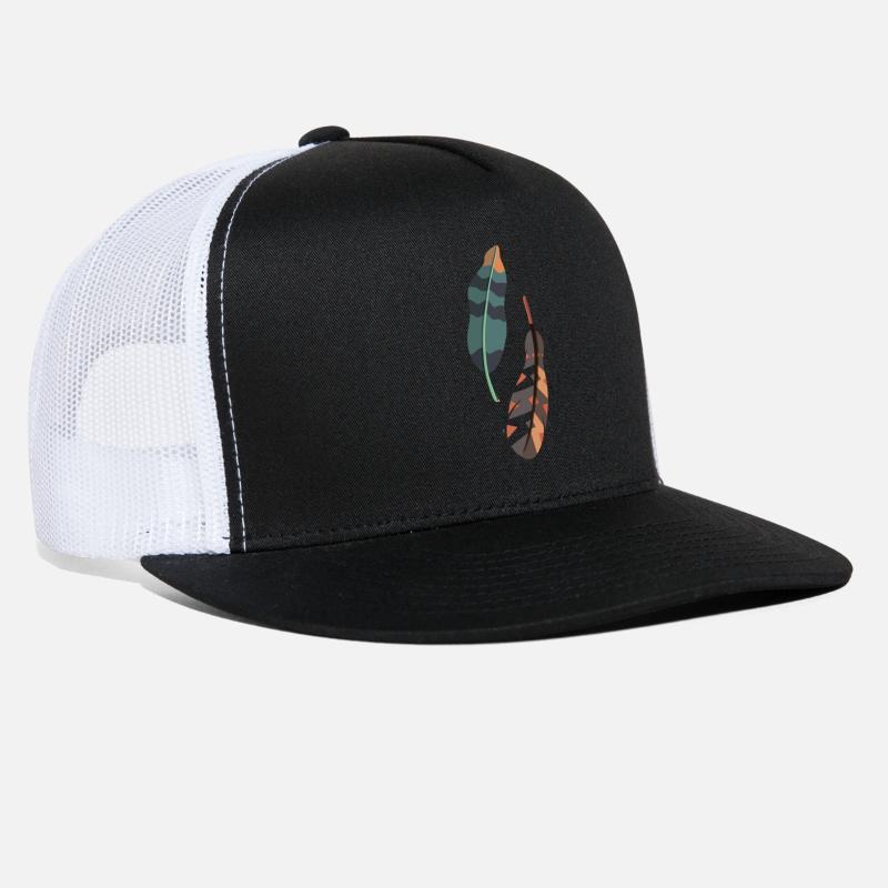 7ef7c236f05 Feather Caps - Feather Color - Trucker Cap black white