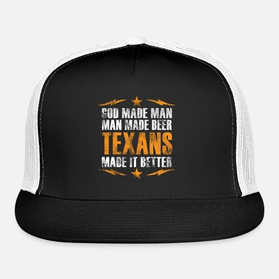 535ed4793 God made man man made beer texans made it better Trucker Cap - black/black