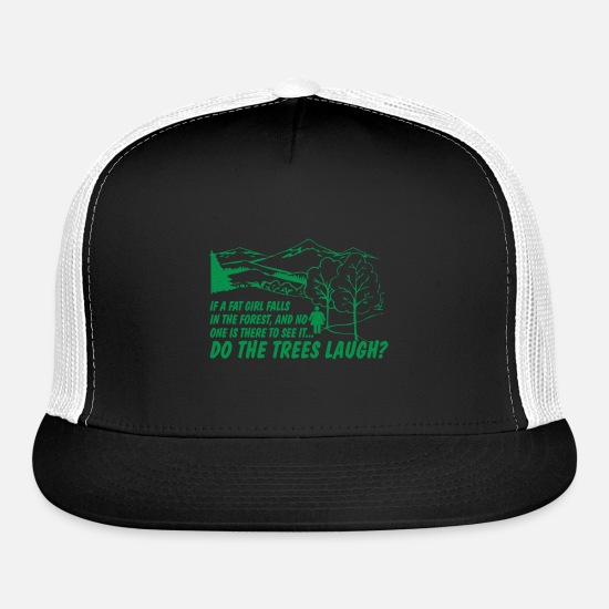 Girl Caps - IF A FAT GIRL FALLS IN THE FOREST - Trucker Cap black/white