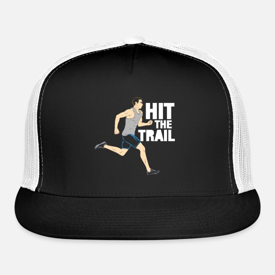 Trail Caps - Hit The Trail Running Vintage Gift - Trucker Cap black/white