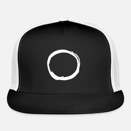 Timeless Caps - circle white object shape timeless minimalism - Trucker Cap black/white