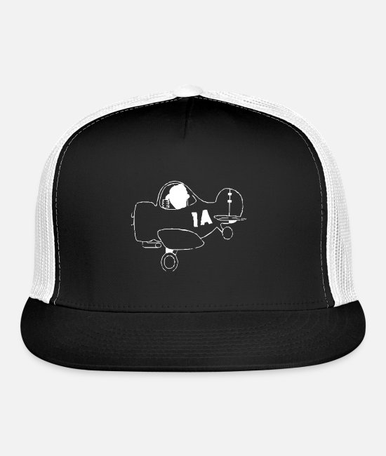 Pilot Caps & Hats - Propeller plane with pilot - Trucker Cap black/white