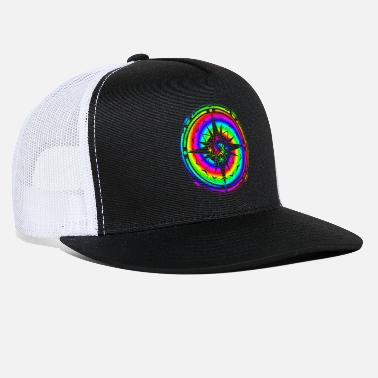 Hippie Psychedelic Rainbow Mandala & Sixties Flower Power - Trucker Cap