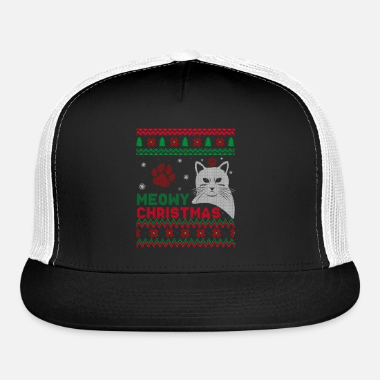 Ugly Christmas Sweater Cat.Cat Ugly Christmas Sweater Trucker Cap Black Black