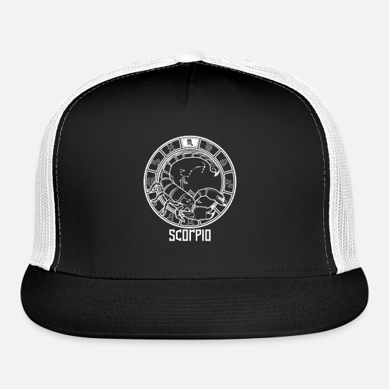Birthday Caps - Scorpio Zodiac Sign October November Birthday Gift - Trucker Cap black/white