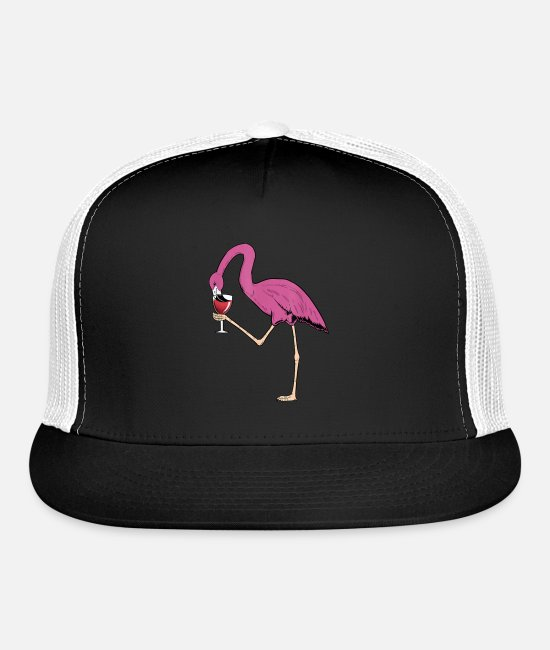 Red Caps & Hats - Pink Flamingo Drink WineMother's Day, Father's Day - Trucker Cap black/white