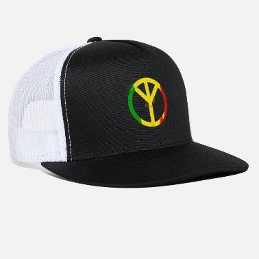 Marley Bob M. Peace Symbol Rasta Color Gift Ideas T-Shirt - Trucker Cap