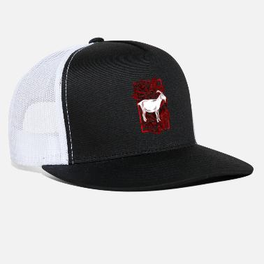 Goat Goat And Roses Animal Gift Idea T-Shirt - Trucker Cap