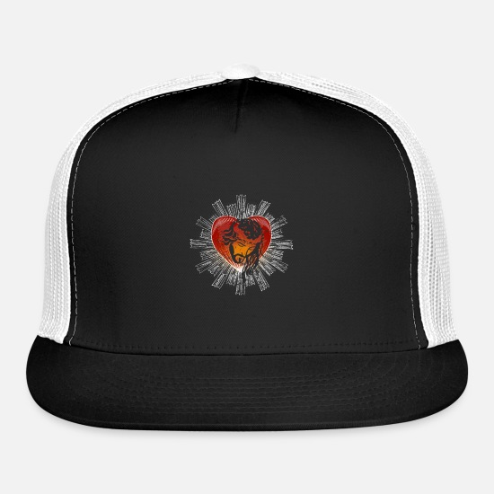 Christian Caps - Jesus Sacred Heart Religious Designs Gift Ideas - Trucker Cap black/white