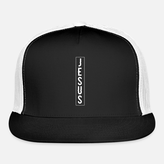 Christian Caps - Jesus Banner Design Art Gift - Trucker Cap black/white