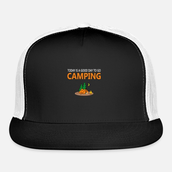 Forest Animal Caps - Camping tent campfire - Trucker Cap black/white