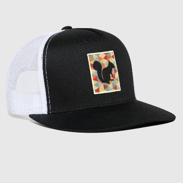 Distressed Classic Vintage Retro Squirrel Silhouet - Trucker Cap