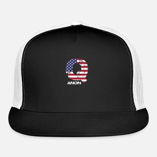 Womens Caps - QAnon WWG1WGA Q Anon Great Awakening MAGA USA Flag - Trucker Cap black/white
