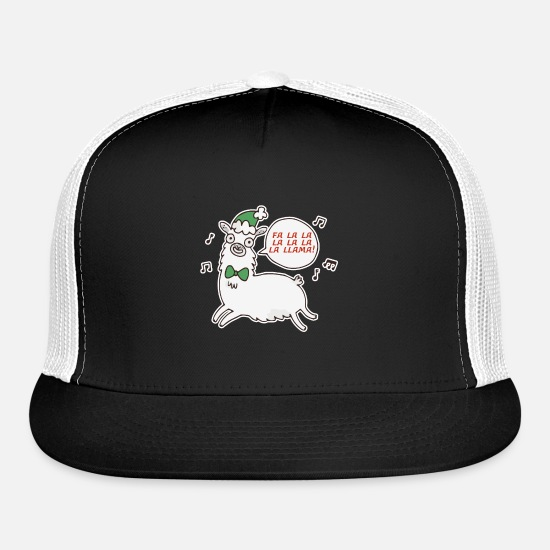 Drinking Caps - Fa La La La La La Llama La Shirt Christmas Holiday - Trucker Cap black/white
