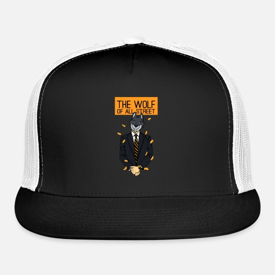 Streets Caps - The Wolf Of All Streets Work Job Gift - Trucker Cap black/white