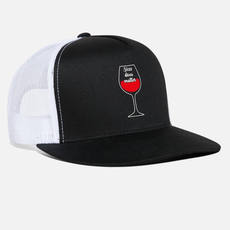 c9202dd7f36 Penis Caps - Size does Matter Wine Glass - Trucker Cap black white