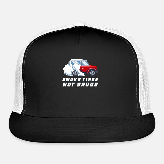 Burnout Caps - CAR RACING GIFT: Smoke Tires Not Drugs - Trucker Cap black/white