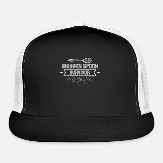 Game Ball Caps - Wooden Spoon Survivor Funny Prank Hilarious Game - Trucker Cap black/white