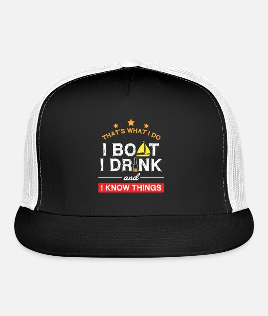 Boating Caps & Hats - Boating Gifts Boat Owner Men Sailing Drinking - Trucker Cap black/white