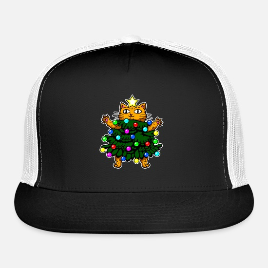 fd46c27dc Cattree Cat Christmas Tree Shirt Holiday Party Kit Trucker Cap - black/black