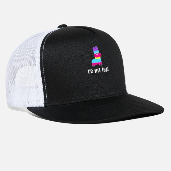 a0aa45429a8 I'd Hit That Pinata Cinco de Mayo Party Trucker Cap - black/black