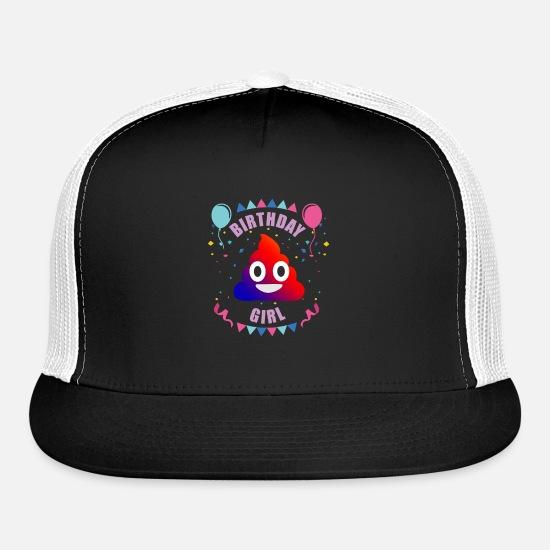 Birthday Girl Shirt Rainbow Poop Emoji Party Des Trucker Cap
