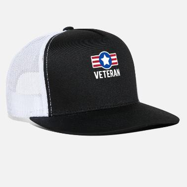 Coat Of Arms Usa Veteran text word with coat of arms - Trucker Cap