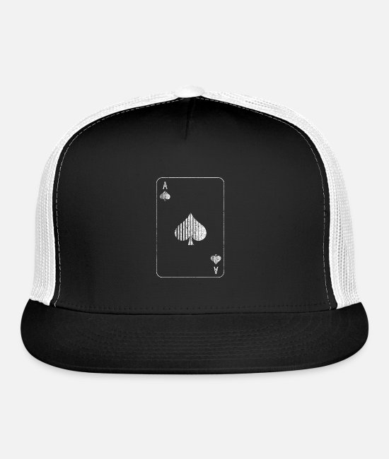 Poker Caps & Hats - Ace of Spades Halloween Motif for a Gambler - Trucker Cap black/white