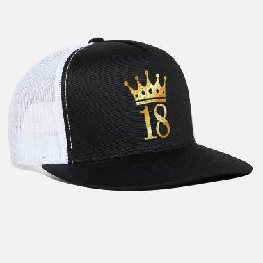 Eighteen 18th Birthday Crown Number 18 (Golden-Yellow) - Trucker Cap
