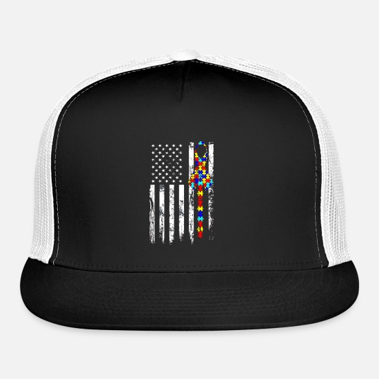 Autism Caps - Autism Awareness American Flag TShirt Gifts - Trucker Cap black/white