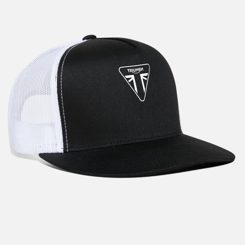 Triumph Caps - Triumph Motorcycle Logo - Trucker Cap black white dffba6f4c9d