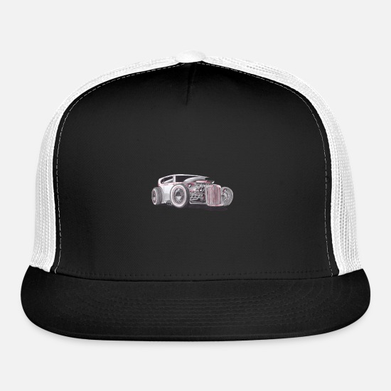 Hot Rod Caps - hot rod draw hotrod t-shirt poloshirt - Trucker Cap black/white