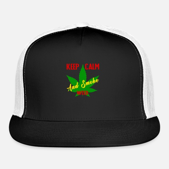 Weed Caps - Keep calm and smoke weed - Trucker Cap black/white