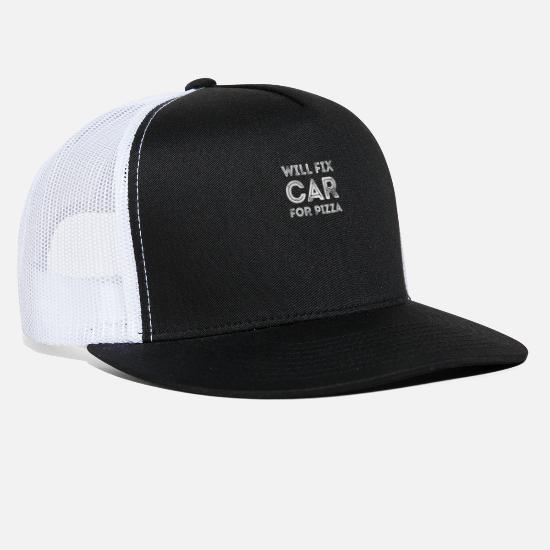 ce0fda57a Will Fix Car For Pizza Funny Auto Mechanic Repair Trucker Cap ...