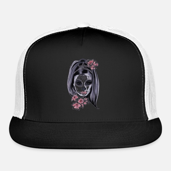 Girl Caps - mask zombie girl flower - Trucker Cap black/white