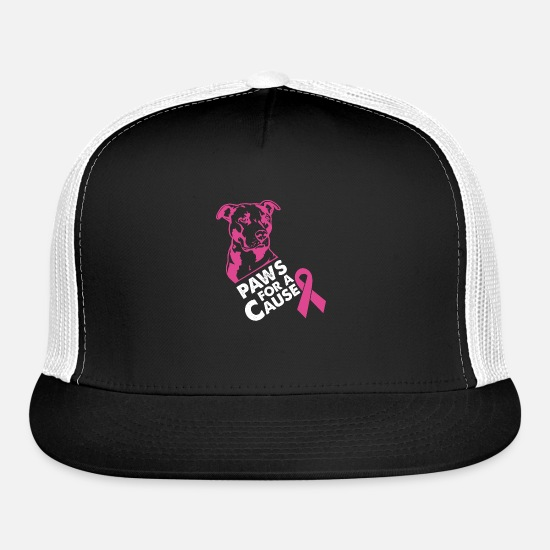 Breast Caps - Paws For A Cause Breast Cancer - Trucker Cap black/white