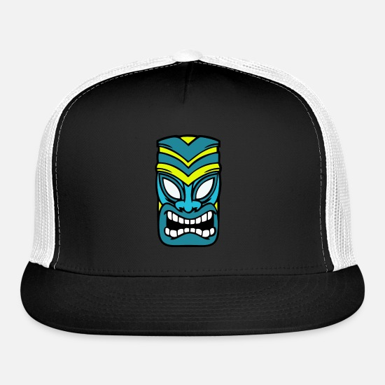 Travel Caps - Tiki mask Hawaii blue - Trucker Cap black/white