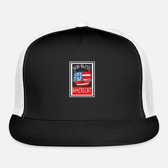 Bless You Caps - God bless Americat - Trucker Cap black/white