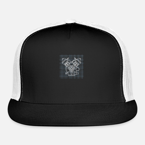Motor Caps - ai robot chip matrix - Trucker Cap black/white