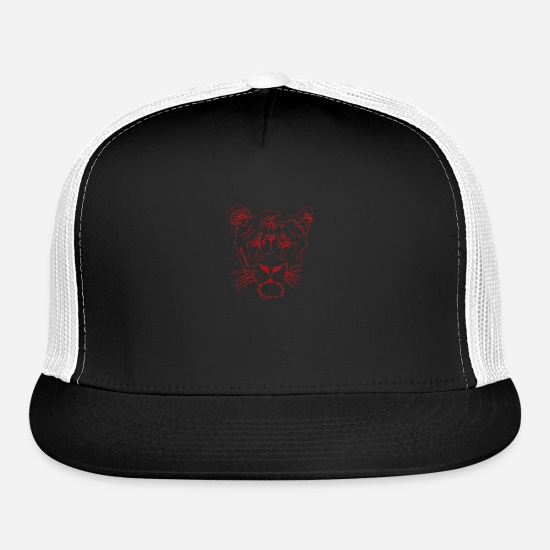 Art Caps - Feline Predator Design - Trucker Cap black/white