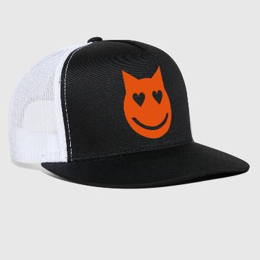 Heart Shaped Eyes Emoji Cat - Trucker Cap