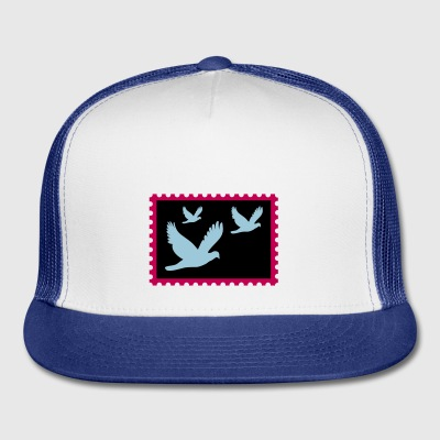 flying doves on a stamp - Trucker Cap