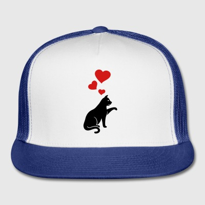 cat with hearts - Trucker Cap