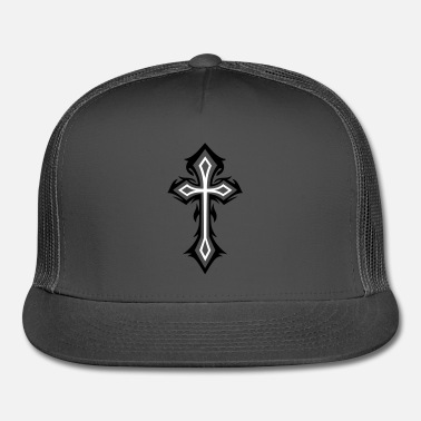Christian Cross, Crucifix, with thorns, gothic style. - Trucker Cap