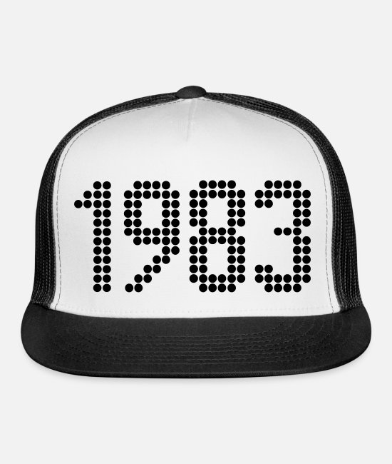Birth Year Caps & Hats - 1983, Numbers, Year, Year Of Birth - Trucker Cap white/black