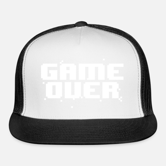 Geek Caps - Game Over Pixel Text - Trucker Cap white/black