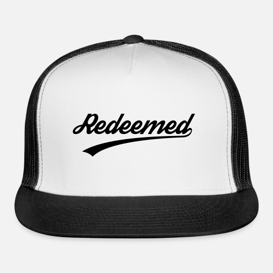 Christian Caps - Redeemed, Christian, faith, Jesus, Love, Bible - Trucker Cap white/black