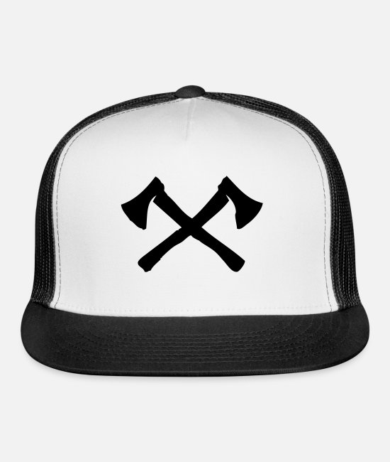 Butcher Caps & Hats - axe - Trucker Cap white/black