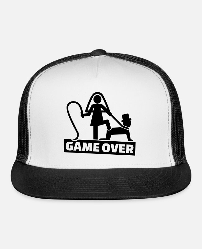 Whip Caps & Hats - Game over - Trucker Cap white/black